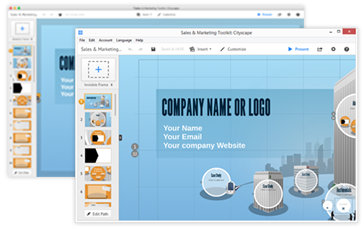 A prezi in the desktop application for Windows and Mac